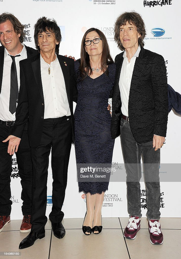 Director <a gi-track='captionPersonalityLinkClicked' href=/galleries/search?phrase=Brett+Morgen&family=editorial&specificpeople=3184751 ng-click='$event.stopPropagation()'>Brett Morgen</a>, Ronnie Wood, Victoria Pearman and <a gi-track='captionPersonalityLinkClicked' href=/galleries/search?phrase=Mick+Jagger&family=editorial&specificpeople=201786 ng-click='$event.stopPropagation()'>Mick Jagger</a> attend the Gala Premiere of 'Crossfire Hurricane' during the 56th BFI London Film Festival at Odeon Leicester Square on October 18, 2012 in London, England.