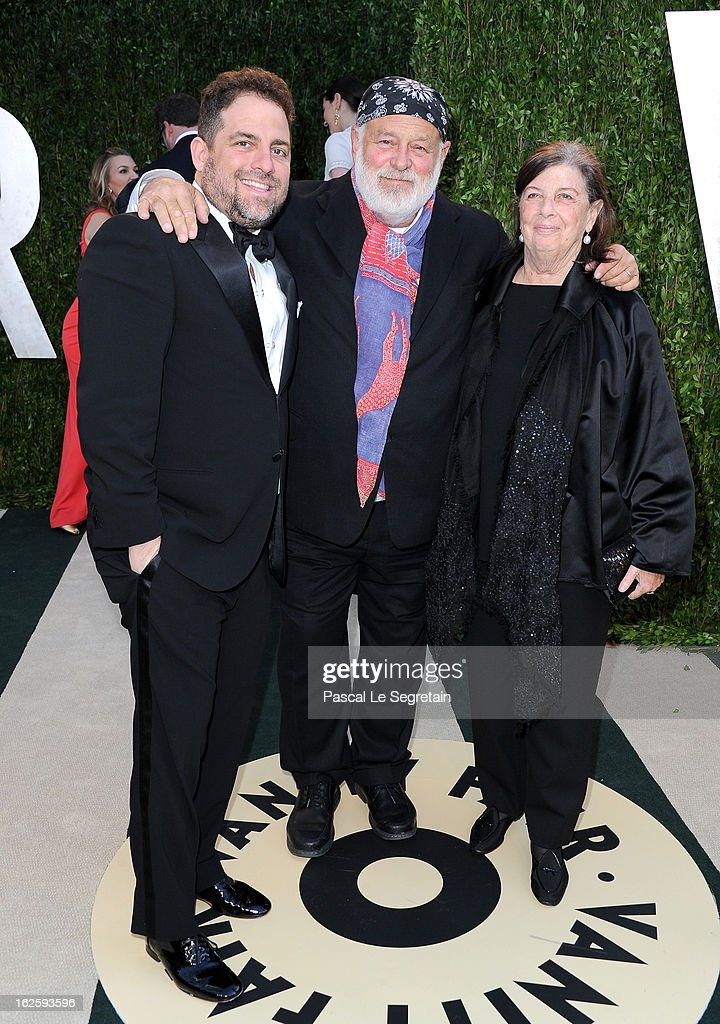 Director Brett Ratner, photographer Bruce Weber and producer Nan Bush arrive at the 2013 Vanity Fair Oscar Party hosted by Graydon Carter at Sunset Tower on February 24, 2013 in West Hollywood, California.