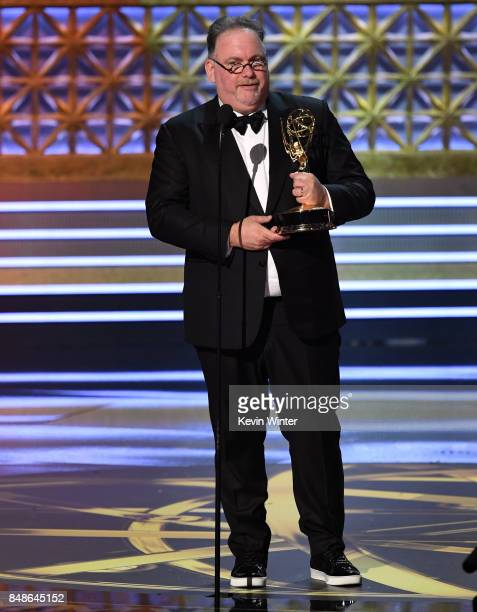 Director Bruce Miller accepts the Outstanding Directing for a Limited Series Movie or Dramatic Special award for 'Big Little Lies' onstage during the...