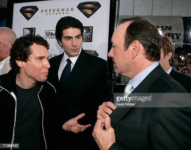 Director Bryan Singer actors Brandon Routh and Kevin Spacey arrive at the Warner Bros premiere of 'Superman Returns' held at the Mann Village Theater...