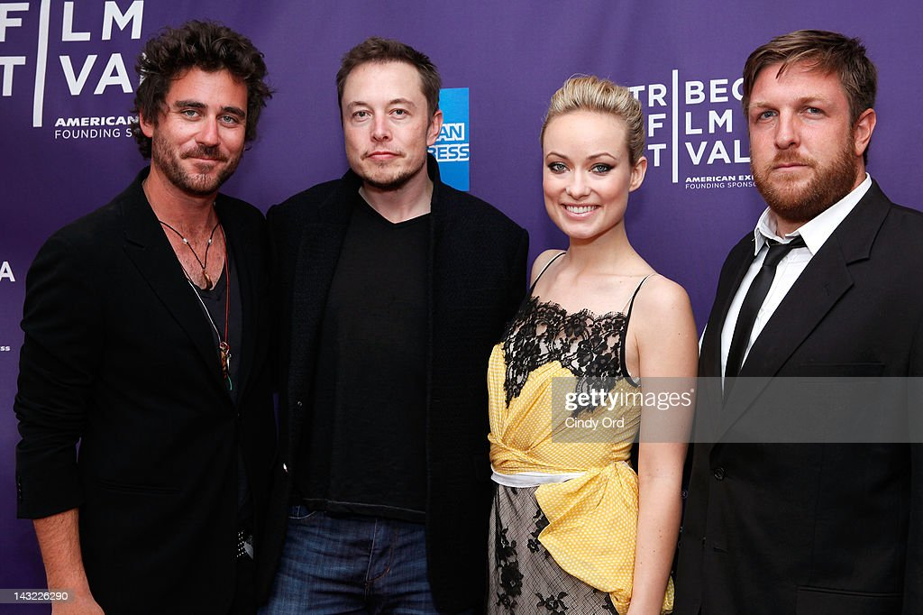 Director Bryn Mooser, executive producer Elon Musk, executive producer Olivia Wilde and director David Darg of the film 'Baseball in the Time of Cholera' attend 'Help Wanted' Shorts Program during the 2012 Tribeca Film Festival at the AMC Lowes Village on April 21, 2012 in New York City.