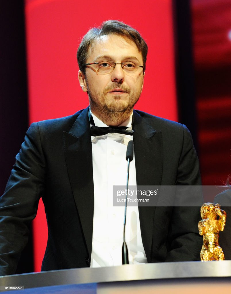 Director Calin Peter Netzer on stage after receiving the Golden Bear at the Closing Ceremony during the 63rd Berlinale International Film Festival at...