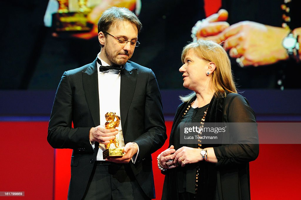 Director Calin Peter Netzer receives the golden bear at the Closing Ceremony during the 63rd Berlinale International Film Festival at Berlinale...