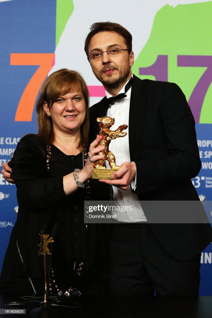 Director Calin Peter Netzer with the Golden Bear and Ada Solomon at the Award Winners Press Conference during the 63rd Berlinale International Film Festival at Grand Hyatt Hotel on February 14, 2013 in Berlin, Germany.