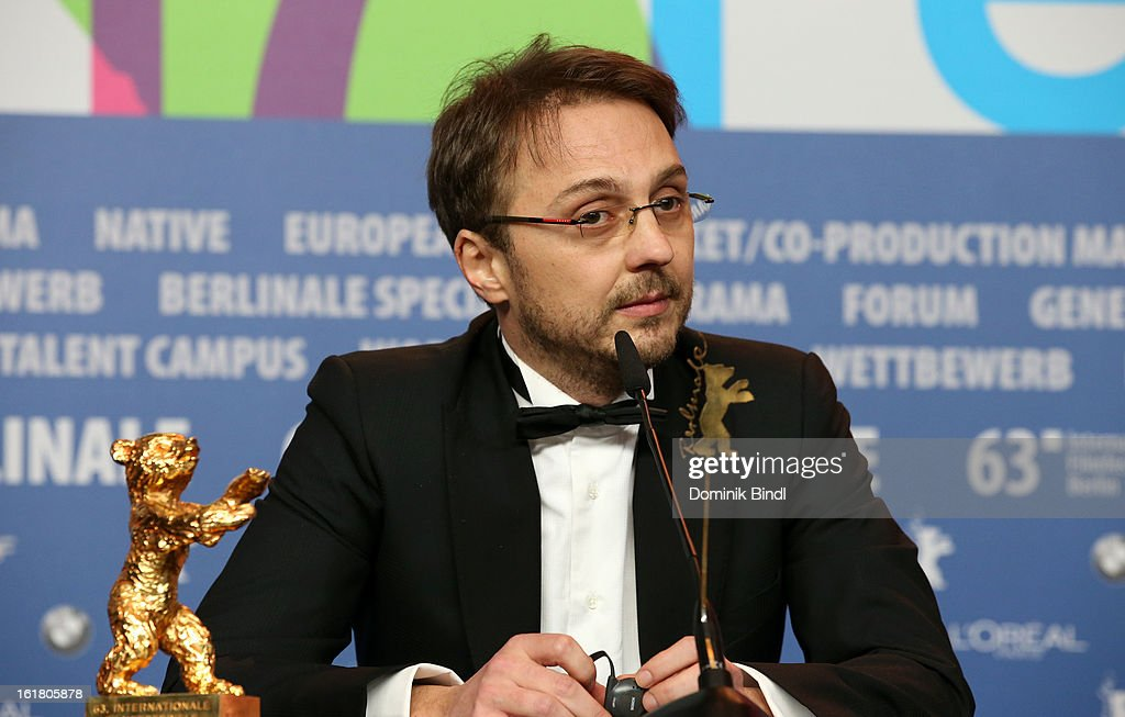 Director Calin Peter Netzer with the Golden Bear at the Award Winners Press Conference during the 63rd Berlinale International Film Festival at Grand Hyatt Hotel on February 14, 2013 in Berlin, Germany.
