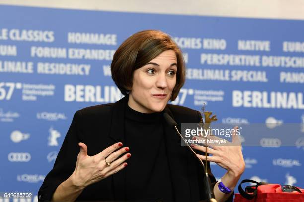 Director Carla Simon winner of the the International Jury Generation Kplus attends the award winners press conference during the 67th Berlinale...