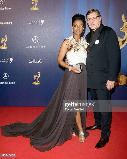 Director Carlo Rola and wife actress Dennenesch Zoude arrive for the Bambi Awards 2009 at the Metropolis hall at Filmpark Babelsberg on November 26...