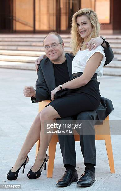 Director Carlo Verdone and actress Micaela Ramazzotti attend 'Posti In Piedi In Paradiso' photocall at the Auditorium Parco della Musica on February...