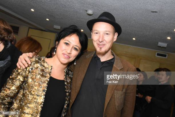 Director Caroline ChuÊand percussionist Alexandre Margraff from Louise Attaque band attend 'Krank' Film Screening at Cinema La Clef on September 16...