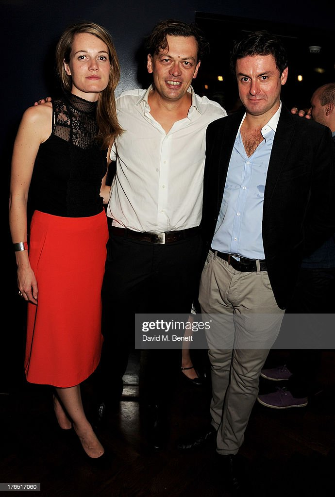 Director Carrie Cracknell, playwright Simon Stephens and cast member Dominic Rowan attend an after party following the press night performance of 'A Doll's House' at The Hospital Club on August 14, 2013 in London, England.