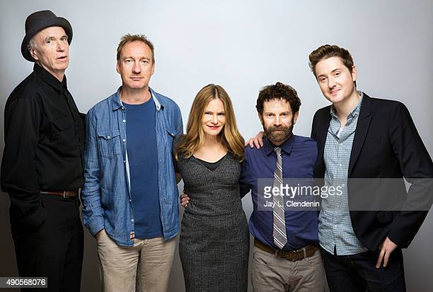 Director Charlie Kaufman actors David Thewlis Jennifer Jason LeighTom Noonan and codirector Duke Johnson from 'Anomalisa' are photographed for Los...