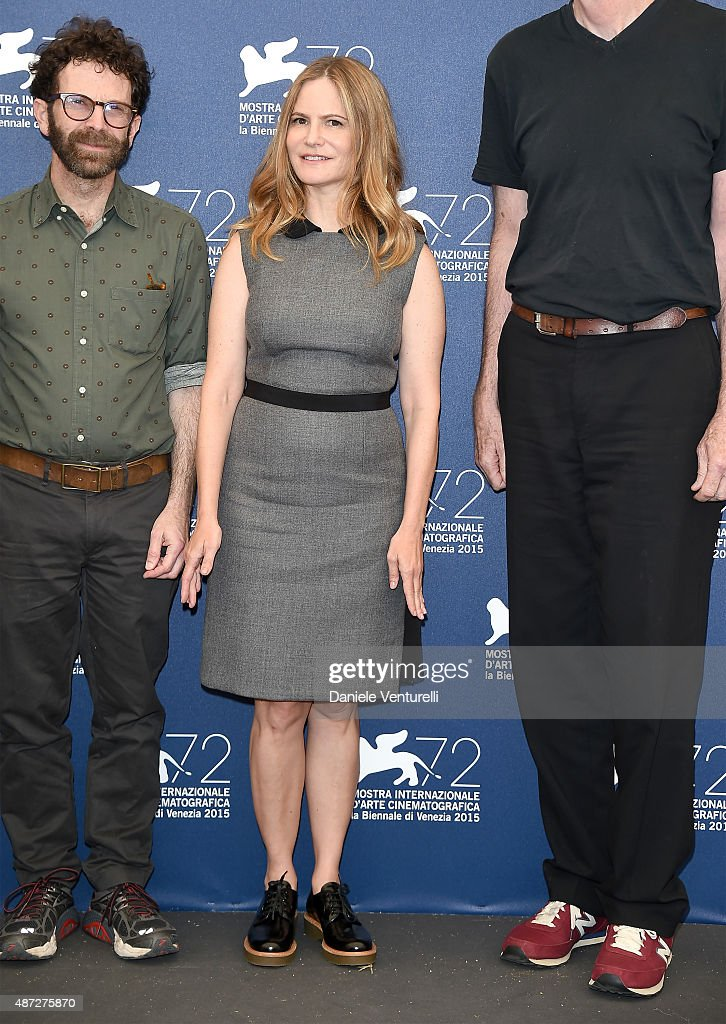 Director Charlie Kaufman, actors Jennifer Jason Leigh and Tom Noonan attend a photocall for 'Anomalisa' during the 72nd Venice Film Festival at Palazzo del Casino on September 8, 2015 in Venice, Italy.