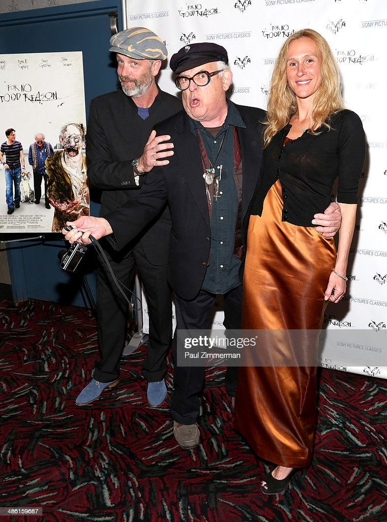 Director Charlie Paul, cartoonist Ralph Steadman and producer Lucy Paul attend the 'For No Good Reason' screening at AMC Loews 19th Street Theater on April 22, 2014 in New York City.
