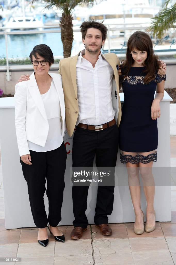 Director Chloe Robichaud actor JeanSebastien Courchesne and actress Sophie Desmarais attend the photocall for 'Sarah Prefere La Course' during The...
