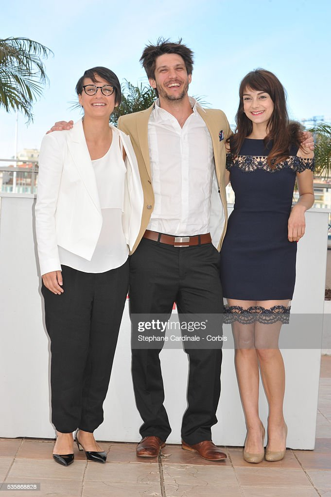 Director Chloe Robichaud JeanSebastien Courchesne and Sophie Desmarais attend the 'Sarah Prefere La Course' Photo call during the 66th Cannes...
