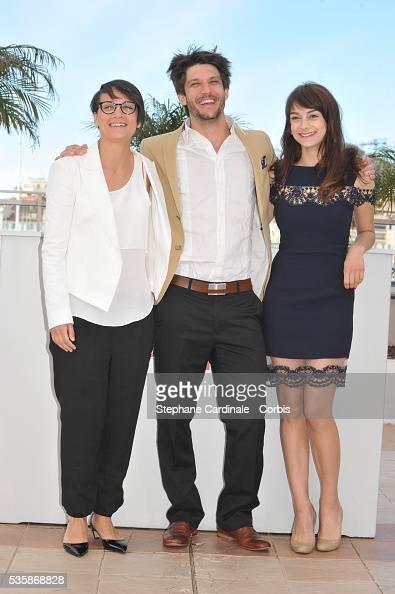 Director Chloe Robichaud JeanSebastien Courchesne and Sophie Desmarais attend the 'Sarah Prefere La Course' Photo call during the 66th Cannes...