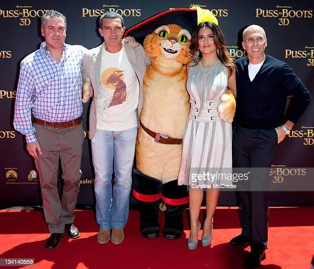 Director Chris Miller Antionio Banderas Salma Hayek and Dreamworks CEO Jeffrey Katzenberg arrive at the 'Puss in Boots' Australian Premiere at HOYTS...