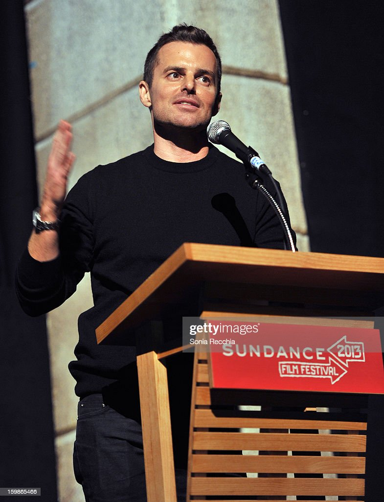 Director Chris Nelson speaks onstage during the 'Ass Backwards' premiere at Egyptian Theatre during the 2013 Sundance Film Festival on January 21...