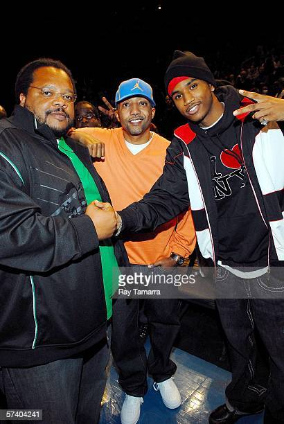 Director Chris Robinson Warner Music Group President Kevin Liles and recording artist Trey Songz attend the Jordan Classic Basketball Game on April...