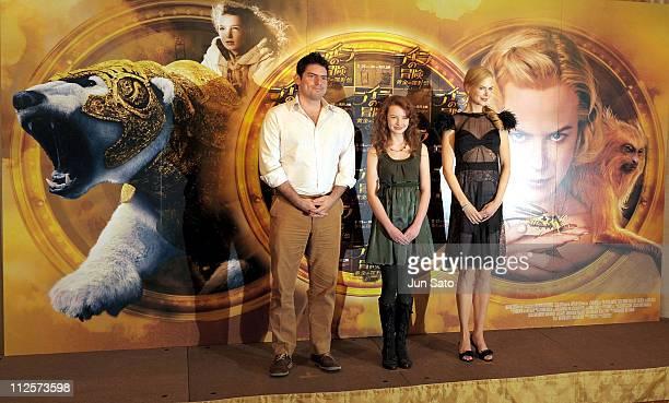 Director Chris Weitz actress Dakota Blue Richards and Actress Nicole Kidman attend 'The Golden Compass' press conference at The Peninsula Tokyo on...