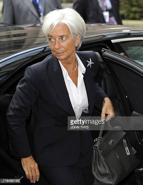 IMF director Christine Lagarde arrives for the EU summit on July 21 2010 at the European Council headquarters in BrusselsEurozone leaders seeking to...