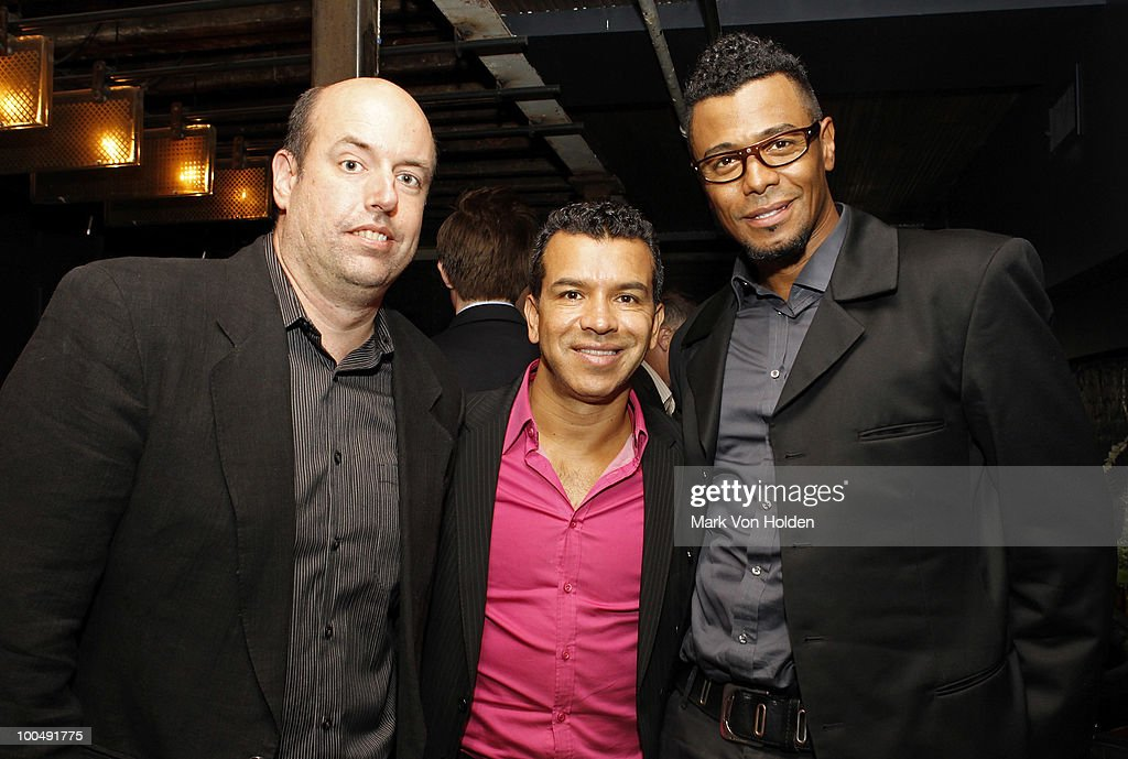 Director Christopher Ashley, Choreographer Sergio Trujillo, and Memphis associate choreographer Edgar Godineaux attend Everlon Diamond Knot Strength Of Love Dinner For Cast of Broadway's Memphis at Double Crown Restaurant on May 24, 2010 in New York City.