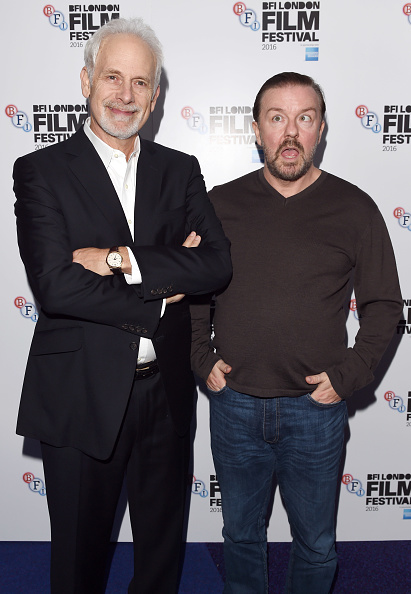 Director Christopher Guest and Actor Ricky Gervais attend the Mascots screening during the 60th BFI London Film Festival at Picturehouse Central on...