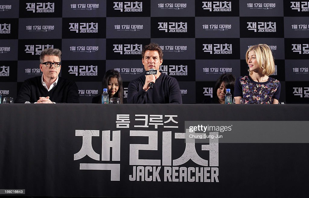 Director Christopher McQuarrie, actor Tom Cruise and actress Rosamund Pike attend the 'Jack Reacher' press conference at Conrad Hotel on January 10, 2013 in Seoul, South Korea. The film will open on January 17 in Korea.