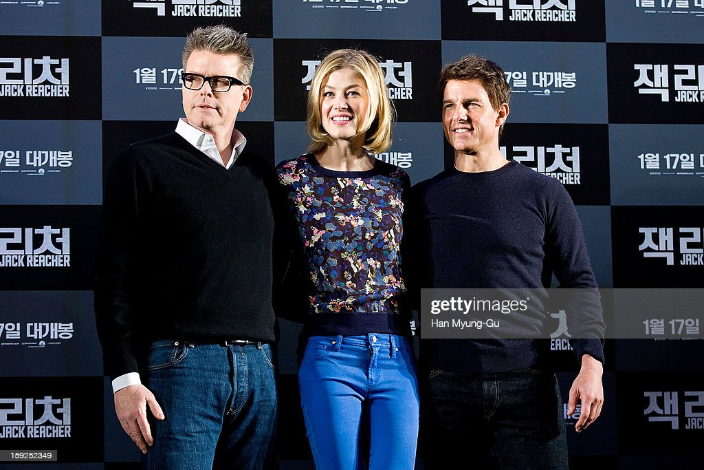 Director Christopher McQuarrie, actors <a gi-track='captionPersonalityLinkClicked' href=/galleries/search?phrase=Rosamund+Pike&family=editorial&specificpeople=208910 ng-click='$event.stopPropagation()'>Rosamund Pike</a> and <a gi-track='captionPersonalityLinkClicked' href=/galleries/search?phrase=Tom+Cruise&family=editorial&specificpeople=156405 ng-click='$event.stopPropagation()'>Tom Cruise</a> attend the 'Jack Reacher' press conference at Conrad Hotel on January 10, 2013 in Seoul, South Korea. The film will open on January 17 in South Korea.