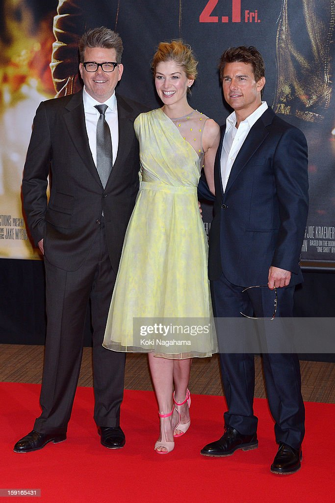 Director Christopher McQuarrie, actress <a gi-track='captionPersonalityLinkClicked' href=/galleries/search?phrase=Rosamund+Pike&family=editorial&specificpeople=208910 ng-click='$event.stopPropagation()'>Rosamund Pike</a> and actor <a gi-track='captionPersonalityLinkClicked' href=/galleries/search?phrase=Tom+Cruise&family=editorial&specificpeople=156405 ng-click='$event.stopPropagation()'>Tom Cruise</a> pose during the 'Jack Reacher' Japan Premiere at Tokyo International Forum on January 9, 2013 in Tokyo, Japan.