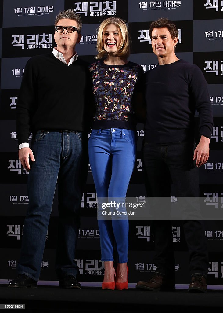 Director Christopher McQuarrie, actress <a gi-track='captionPersonalityLinkClicked' href=/galleries/search?phrase=Rosamund+Pike&family=editorial&specificpeople=208910 ng-click='$event.stopPropagation()'>Rosamund Pike</a> and actor <a gi-track='captionPersonalityLinkClicked' href=/galleries/search?phrase=Tom+Cruise&family=editorial&specificpeople=156405 ng-click='$event.stopPropagation()'>Tom Cruise</a> attend the 'Jack Reacher' press conference at Conrad Hotel on January 10, 2013 in Seoul, South Korea. The film will open on January 17 in Korea.
