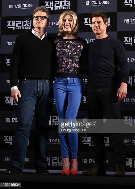 Director Christopher McQuarrie actress Rosamund Pike and actor Tom Cruise attend the 'Jack Reacher' press conference at Conrad Hotel on January 10...
