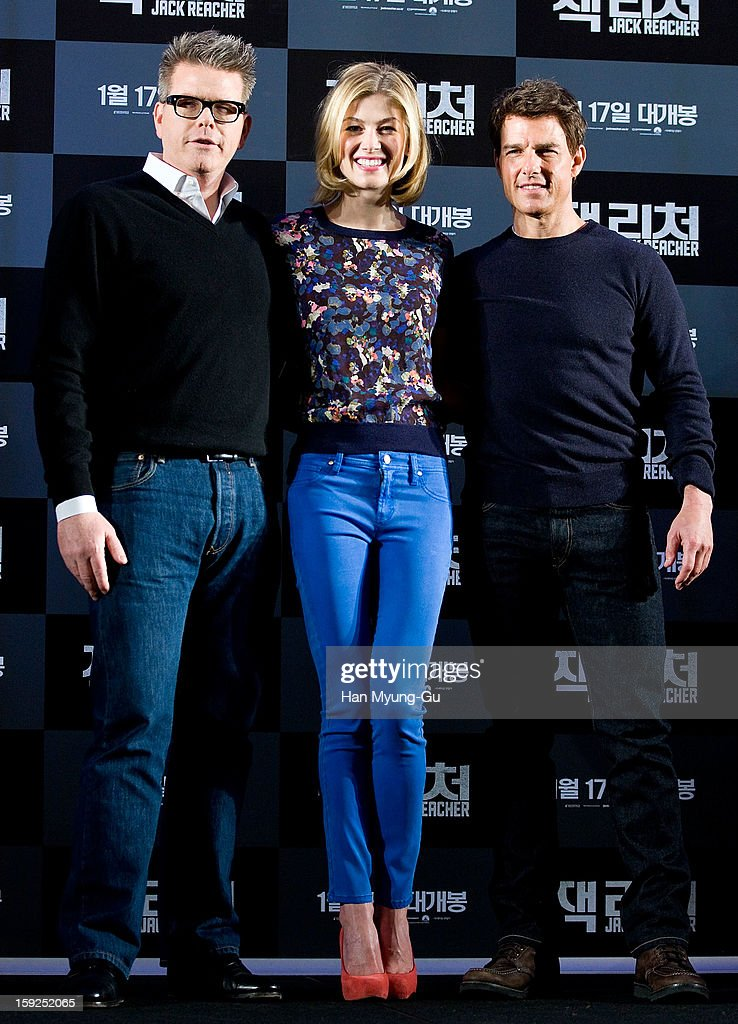 Director Christopher McQuarrie and actors <a gi-track='captionPersonalityLinkClicked' href=/galleries/search?phrase=Rosamund+Pike&family=editorial&specificpeople=208910 ng-click='$event.stopPropagation()'>Rosamund Pike</a> and <a gi-track='captionPersonalityLinkClicked' href=/galleries/search?phrase=Tom+Cruise&family=editorial&specificpeople=156405 ng-click='$event.stopPropagation()'>Tom Cruise</a> attend the 'Jack Reacher' press conference at Conrad Hotel on January 10, 2013 in Seoul, South Korea. The film will open on January 17 in South Korea.