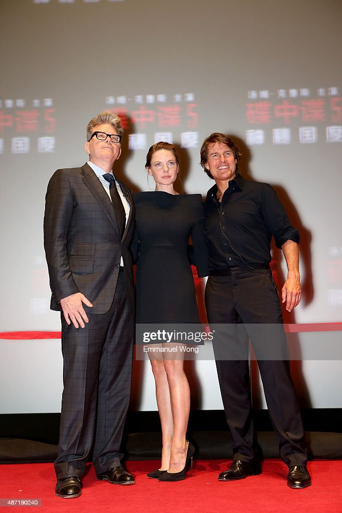 Director <a gi-track='captionPersonalityLinkClicked' href=/galleries/search?phrase=Christopher+McQuarrie&family=editorial&specificpeople=2784110 ng-click='$event.stopPropagation()'>Christopher McQuarrie</a>, <a gi-track='captionPersonalityLinkClicked' href=/galleries/search?phrase=Rebecca+Ferguson+-+Actress&family=editorial&specificpeople=12319575 ng-click='$event.stopPropagation()'>Rebecca Ferguson</a> and <a gi-track='captionPersonalityLinkClicked' href=/galleries/search?phrase=Tom+Cruise&family=editorial&specificpeople=156405 ng-click='$event.stopPropagation()'>Tom Cruise</a> attend the Beijing Fan Screening of Mission: Impossible - Rogue Nation at the (VENUE) on September 7, 2015 in Beijing, China.