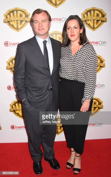 Director Christopher Nolan and producer Emma Thomas arrive at the CinemaCon 2017 Warner Bros Pictures presentation of their upcoming slate of films...