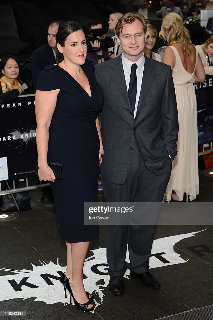 Director <a gi-track='captionPersonalityLinkClicked' href=/galleries/search?phrase=Christopher+Nolan&family=editorial&specificpeople=235975 ng-click='$event.stopPropagation()'>Christopher Nolan</a> and producer Emma Thomas attend the European premiere of 'The Dark Knight Rises' at Odeon Leicester Square on July 18, 2012 in London, England.