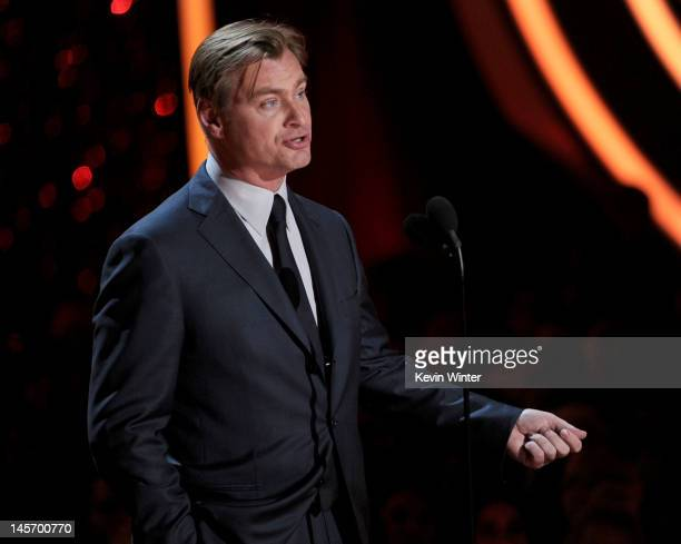 Director Christopher Nolan speaks onstage during the 2012 MTV Movie Awards held at Gibson Amphitheatre on June 3 2012 in Universal City California