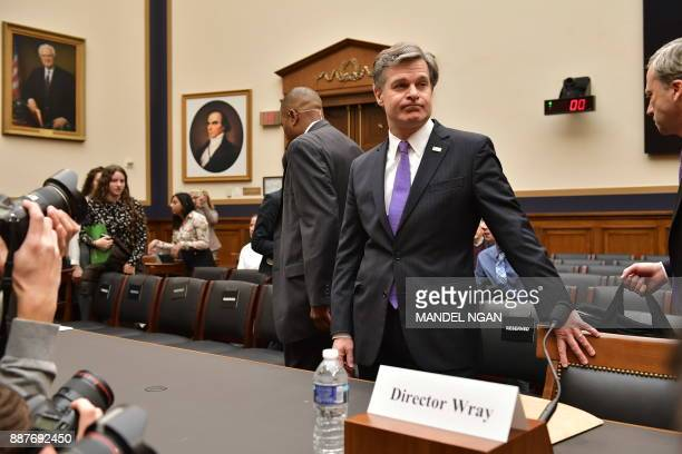 FBI Director Christopher Wray arrives to testify before the House Judiciary Committee on oversight of the Federal Bureau of Investigation in the...