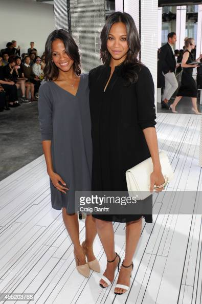 Director Cisely Saldana and sister actress Zoe Saldana attend the Boss fashion show during MercedesBenz Fashion Week Spring 2015 on September 10 2014...