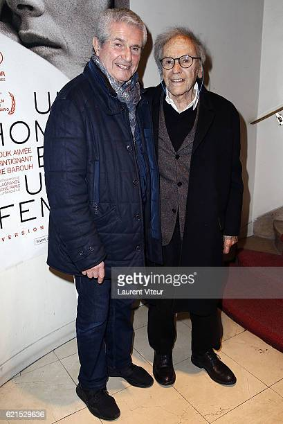 Director Claude Lelouch and Actor JeanLouis Trintignant attend 'Un Homme et Une Femme' Screening for Its 50th Anniversary at l'Arlequin on November 6...
