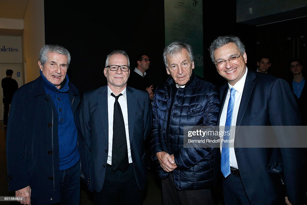 Director Claude Lelouch, General Delegate of the Cannes Film Festival Thierry Fremaux, President of Cinematheque Francaise Constantin Costa-Gavras and CEO of the 'Metropolitan Films Export', Victor Hadida attend the 'Silence' Paris Premiere at Musee National Des Arts Asiatiques - Guimet on January 12, 2017 in Paris, France.