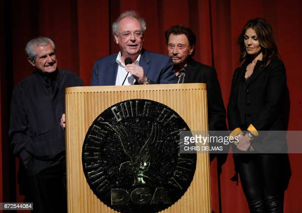 Director Claude Lelouch Producer Samuel Hadida singer Johnny Hallyday and actress Nadia Fares attend the Colcoa French Film Festival Opening night on...