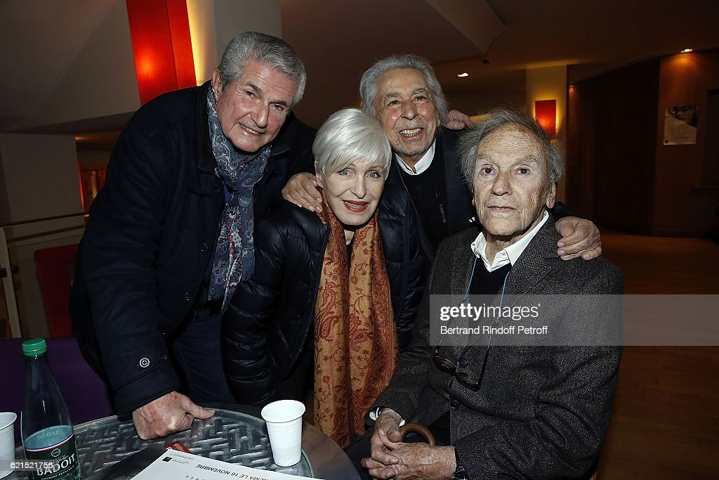 Director Claude Lelouch, Singer Nicole Croisille, Musician Francis Lai and Actor Jean-Louis Trintignant attend 'Un Homme et Une Femme' screening for its 5Oth Anniversary at l'Arlequin on November 6, 2016 in Paris, France.