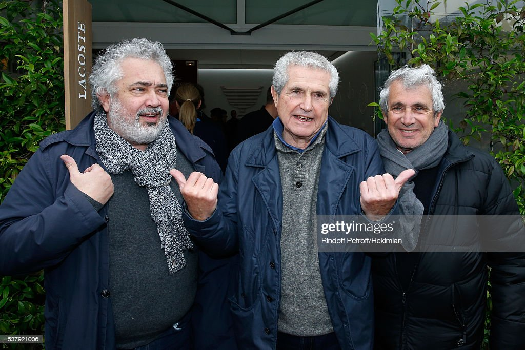 Director Claude Lelouch standing between Artistic Director of Ramatuelle Festival, Michel Boujenah (R) and his brother director Paul Boujenah attend Day Thirteen of the 2016 French Tennis Open at Roland Garros on June 3, 2016 in Paris, France.