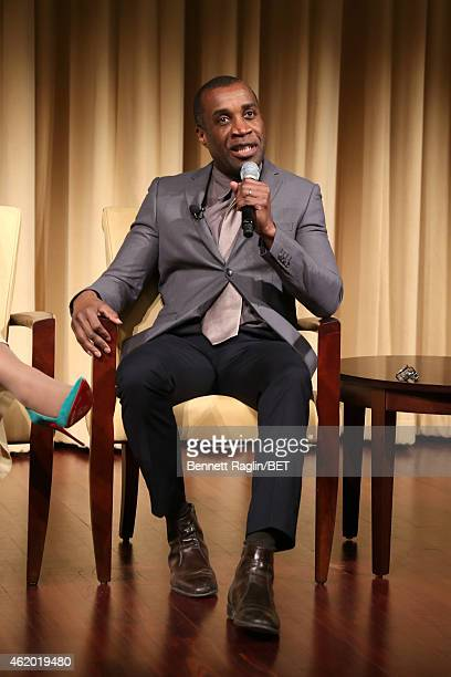 Director Clement Virgo speaks on stage at 'The Book of Negroes' screening reception at The National Archives on January 22 2015 in Washington DC