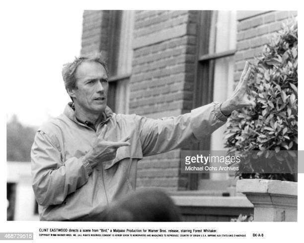 Director Clint Eastwood on set of the Warner Bros movie 'Bird' circa 1988