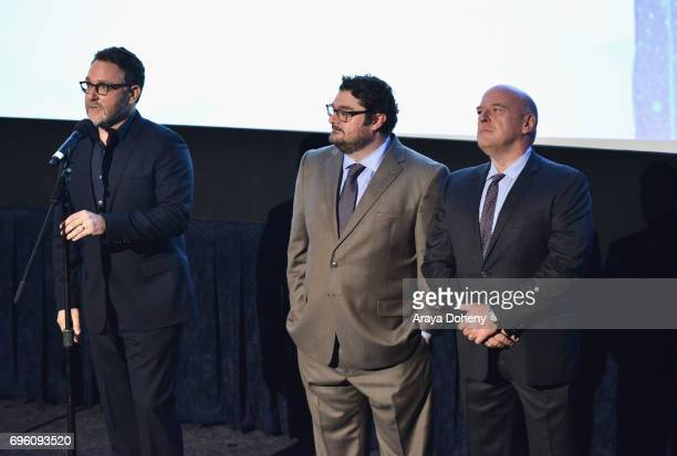 Director Colin Trevorrow actor Bobby Moynihan and actor Dean Norris attend the opening night premiere of Focus Features' 'The Book of Henry' during...