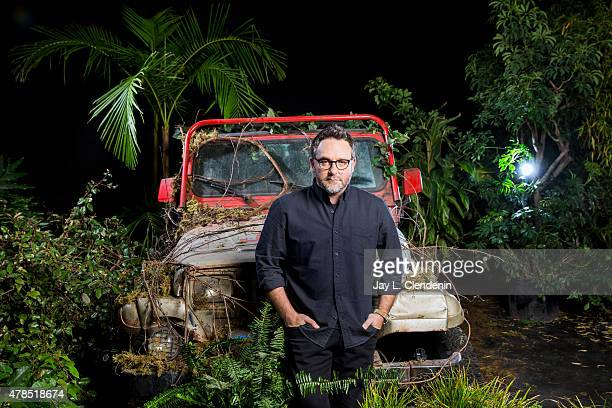Director Colin Trevorrow is photographed on a 'Jurassic Park' prop jeep on the Universal Studios lot on March 5 2015 in Los Angeles California...