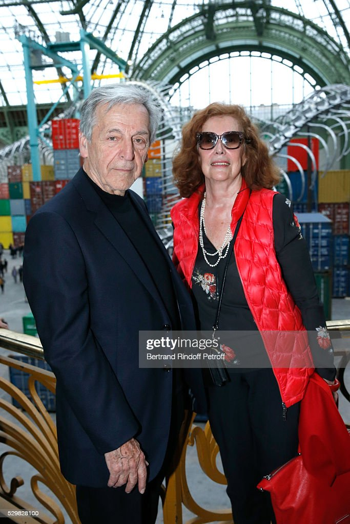 Director Constantin Costa Gavras and his wife producer Michelle de Broca attend the 'Empires' exhibition of Huang Yong Ping as part of Monumenta 2016 - Opening at Le Grand Palais on May 9, 2016 in Paris, France.