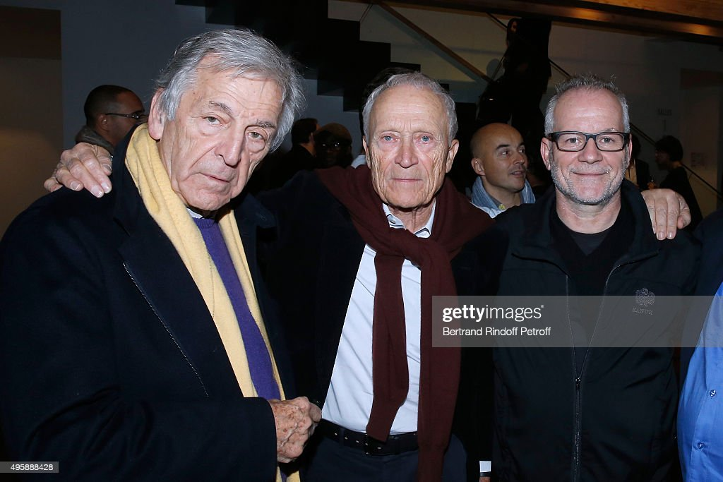 Director Constantin Costa-Gavras, CEO Pathe Jerome Seydoux and Cannes Film Festival Delegate General Thierry Fremaux attend the Cinema 'Les Fauvettes' : Opening Ceremony on November 5, 2015 in Paris, France.